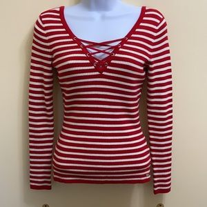 Guess Red and White Striped Top Size Med